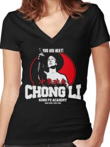 BOLO YEUNG BLOODSPORT CHONG LI KUNG FU ACADEMY YOU ARE NEXT Women's Fitted V-Neck T-Shirt
