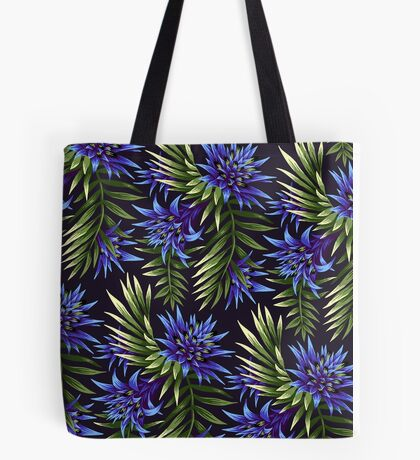 Fasciata Tropical Floral - Blue/Green Tote Bag