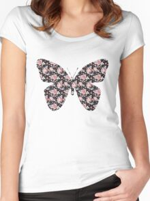 Floral Butterfly Women's Fitted Scoop T-Shirt