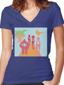 Gorillaz History Silhouette Women's Fitted V-Neck T-Shirt