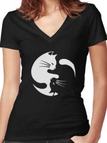 Cat ying yang - cat yin yang shirt Women's Fitted V-Neck T-Shirt