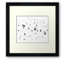 Bees | Black and White | Cute Animal Patterns Framed Print