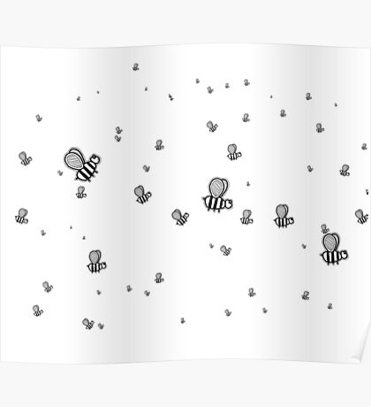 Bees | Black and White | Cute Animal Patterns Poster