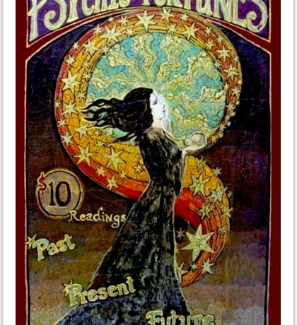 PSYCHIC FORTUNES; Vintage Fortune Teller Advertising Print Sticker