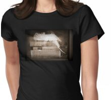 wedding hat and antique books at Caples House in Sepia Womens Fitted T-Shirt