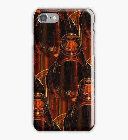 Glass bottles of beer on dark background. 3d illustration. iPhone Case/Skin
