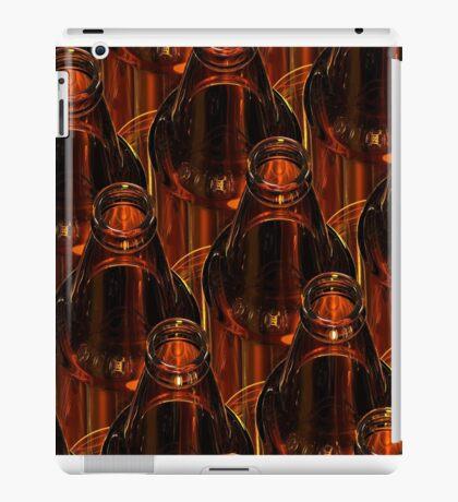 Glass bottles of beer on dark background. 3d illustration. iPad Case/Skin