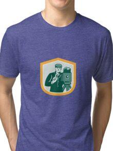 Photographer Shooting Vintage Camera Shield Retro Tri-blend T-Shirt