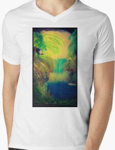 midnight waterfall Mens V-Neck T-Shirt