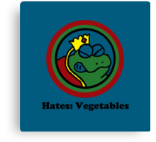 Hates: Vegetables Canvas Print