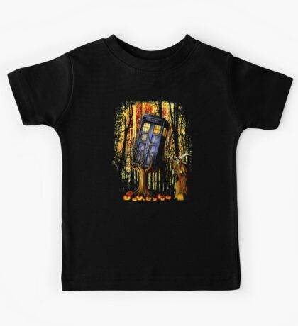 Haunted Blue Phone Box captured By witch Kids Tee
