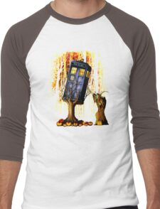 Haunted Blue Phone Box captured By witch Men's Baseball ¾ T-Shirt