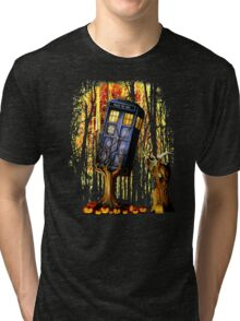 Haunted Blue Phone Box captured By witch Tri-blend T-Shirt