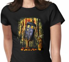 Haunted Blue Phone Box captured By witch Womens Fitted T-Shirt
