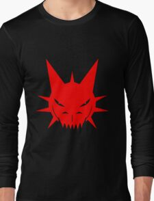 Red Dragon's Head Design On Black Background Long Sleeve T-Shirt