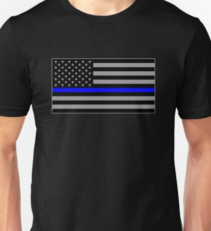 Basic Thin Blue Line American Flag Unisex T-Shirt