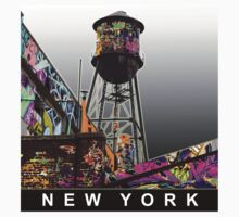 New York Graffiti covered water tower Kids Clothes