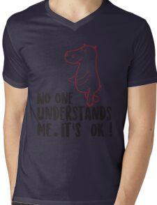 Hippo No One Understands Me Mens V-Neck T-Shirt