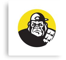 Angry Gorilla Head Baseball Cap Circle Retro Canvas Print