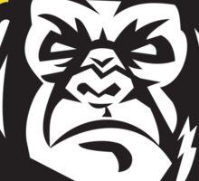 Angry Gorilla Head Baseball Cap Circle Retro Sticker