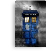 Haunted blue phone booth Canvas Print