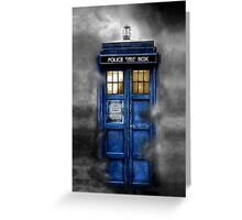 Haunted blue phone booth Greeting Card