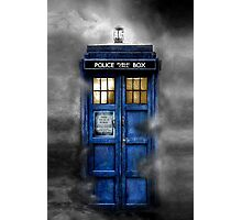 Haunted blue phone booth Photographic Print