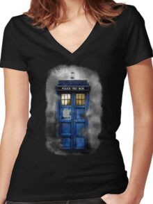 Haunted blue phone booth Women's Fitted V-Neck T-Shirt