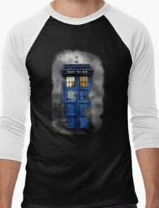 Haunted blue phone booth Men's Baseball ¾ T-Shirt