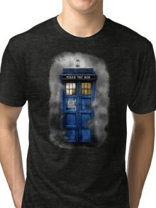 Haunted blue phone booth Tri-blend T-Shirt