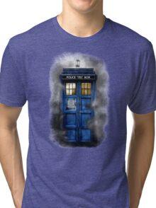 Haunted blue phone booth Tri-blend T-Shirt