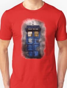 Haunted blue phone booth Unisex T-Shirt
