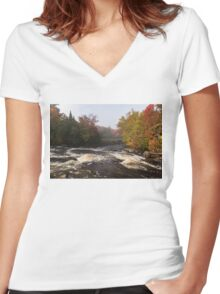 Colorful Fall - a River Rushing in the Soft Morning Mist Women's Fitted V-Neck T-Shirt