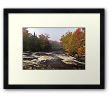 Colorful Fall - a River Rushing in the Soft Morning Mist Framed Print
