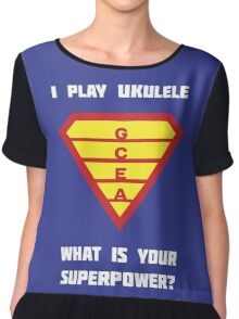 I PLAY UKULELE WHAT IS YOUR SUPERPOWER? Red/Yellow on Blue Musician Design Chiffon Top