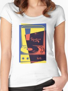 Vintage Turntable Stereo Women's Fitted Scoop T-Shirt