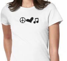 Peace, Love, and Music Womens Fitted T-Shirt