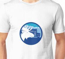 Moose Head School Bus Circle Retro Unisex T-Shirt