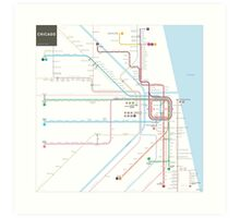 Chicago Subway Map Art Print
