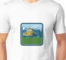 School Bus Cactus Mountains Square Retro Unisex T-Shirt