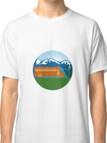 School Bus Vintage Cactus Mountains Circle Retro Classic T-Shirt