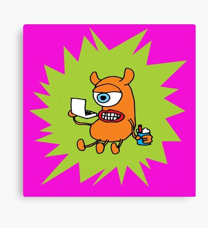 MONSTER WORKING AT LAPTOP COMPUTER Canvas Print