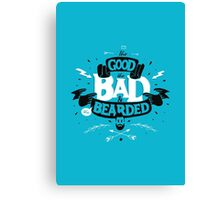 THE GOOD THE BAD AND THE BEARDED full blue Canvas Print
