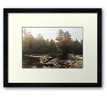 Autumn Riverbank Fog -  Framed Print