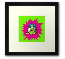 MONSTER WORKING ON IPAD TABLET Framed Print