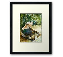 Stop and smell the Flowers id1270236 panda bear Framed Print
