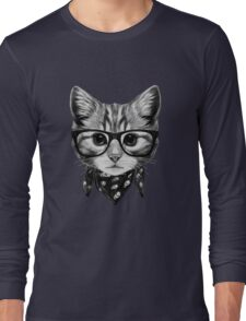 ETOSELL Retro Lady CrewNeck Short Sleeve T-Shirt Cute Cat Print Loose Tops Long Sleeve T-Shirt