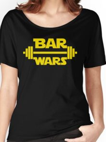 BAR WARS - Yellow/Dark Parody Design for Weight Lifters Women's Relaxed Fit T-Shirt
