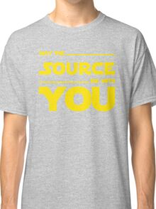 May The Source Be With You - Yellow/Dark Parody Design for Programmers Classic T-Shirt