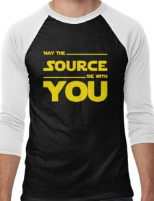 May The Source Be With You - Yellow/Dark Parody Design for Programmers Men's Baseball ¾ T-Shirt